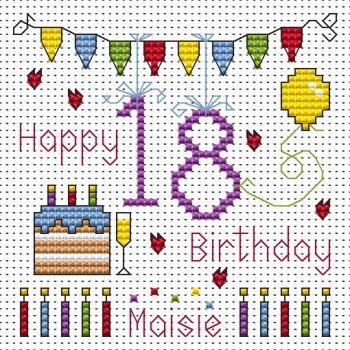 18th Birthday Bunting Cross Stitch Card
