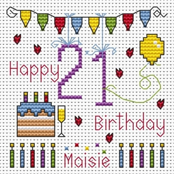 21st Birthday Bunting Cross Stitch Card