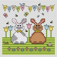 Hoppy Easter Cross Stitch Card