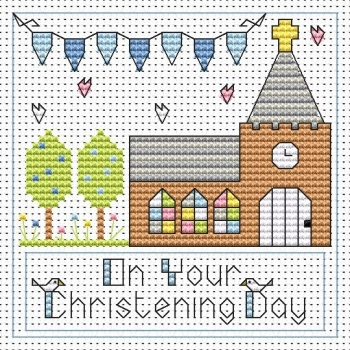 Christening Day Boy Cross Stitch Card