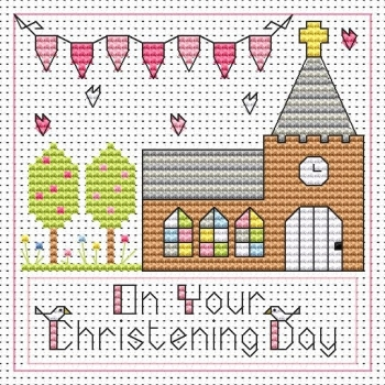 Christening Day Girl Cross Stitch Card