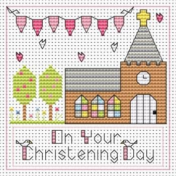 Christening Day Girl Cross Stitch Card