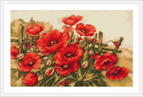 Field of Poppies - Petit Point Kit - Luca-S