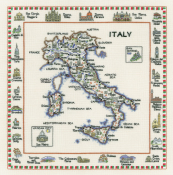 Italy - Map Cross Stitch CHART ONLY