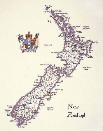 New Zealand - Map Cross Stitch CHART ONLY