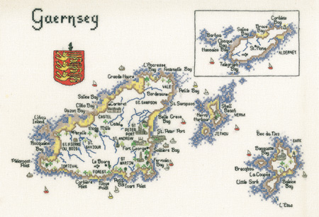 Guernsey - Map Cross Stitch CHART ONLY