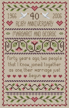Ruby Anniversary Cross Stitch 40th