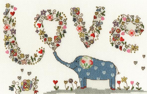 Love Elephant Cross Stitch Kit - Bothy Threads