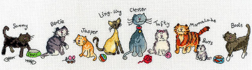 Row of Cats - Bothy Threads Cross Stitch