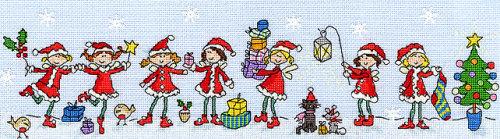 Row of Christmas Fairies - Bothy Threads Cross Stitch