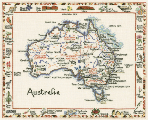 Australia Map Landmarks.Australia Map Cross Stitch Chart Only