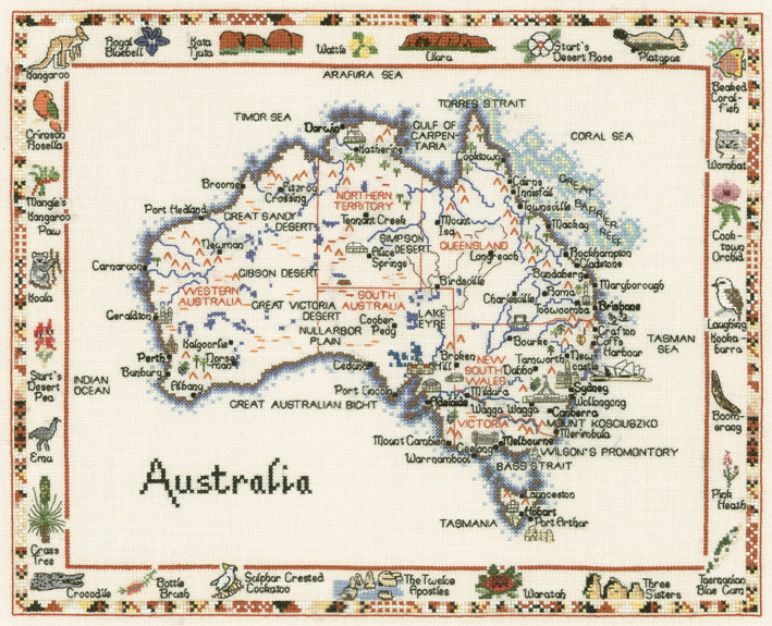 Australia - Map Cross Stitch CHART ONLY