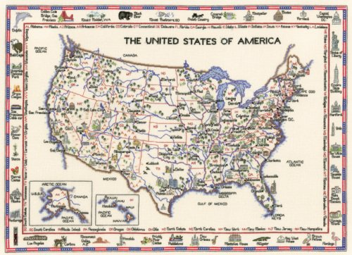 America - Map Cross Stitch CHART ONLY
