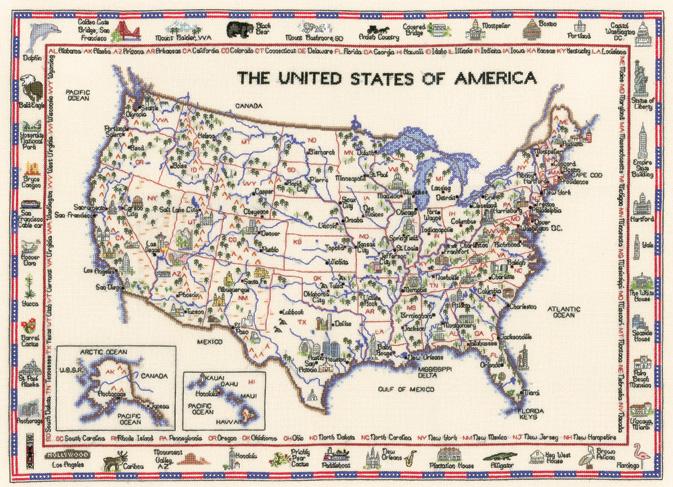 America - Map Cross Stitch CHART ONLY