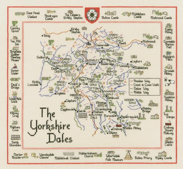 Yorkshire Dales Map Cross Stitch Kit - Heritage Crafts