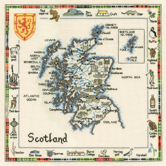 Scotland Map Cross Stitch Kit