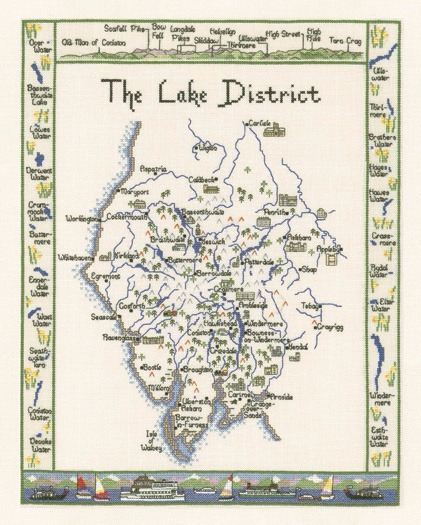 Lake District Map Cross Stitch Kit