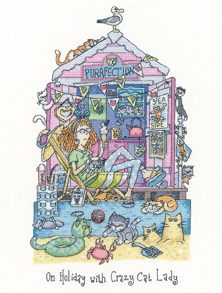 On Holiday with Crazy Cat Lady Cross Stitch kit - Heritage Crafts