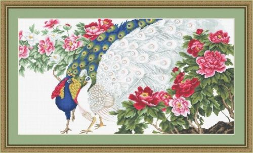 Peacock and Flowers - Cross Stitch Kit - Luca-S