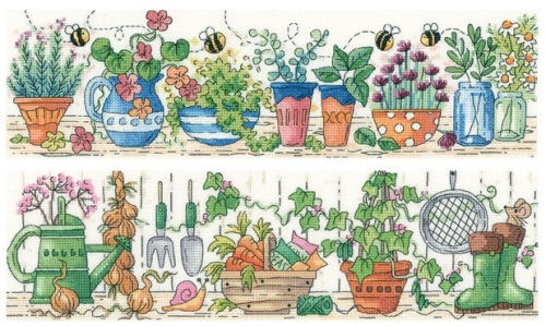 Herb Garden & Potting Shed Set of 2 cross stitch kits by Heritage Crafts