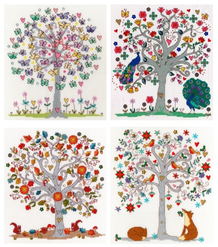 Love Tree Cross Stitch Kits - Set of 4 by Bothy Threads