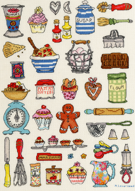 Baking Sampler cross stitch kit - Bothy Threads