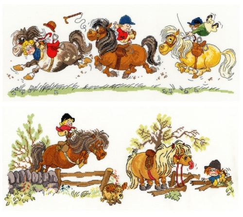 Horse Play and Crash Landing - Thelwell Cross Stitch