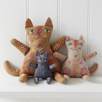 Cat Family Felt Embroidery Kit - Nancy Nicholson