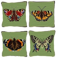 Set of 4 Butterfly Chunky Cross Stitch Kits (5 hpi printed canvas)