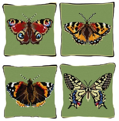 Set of 4 Butterfly Chunky Cross Stitch Kits (printed canvas)