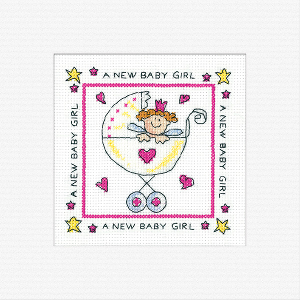 New Baby Girl Card Kit - Heritage Crafts