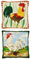 Set of two Chicken Kits - Cross Stitch (7 hpi printed canvas)
