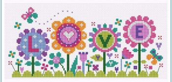 Flowers of Love Cross Stitch