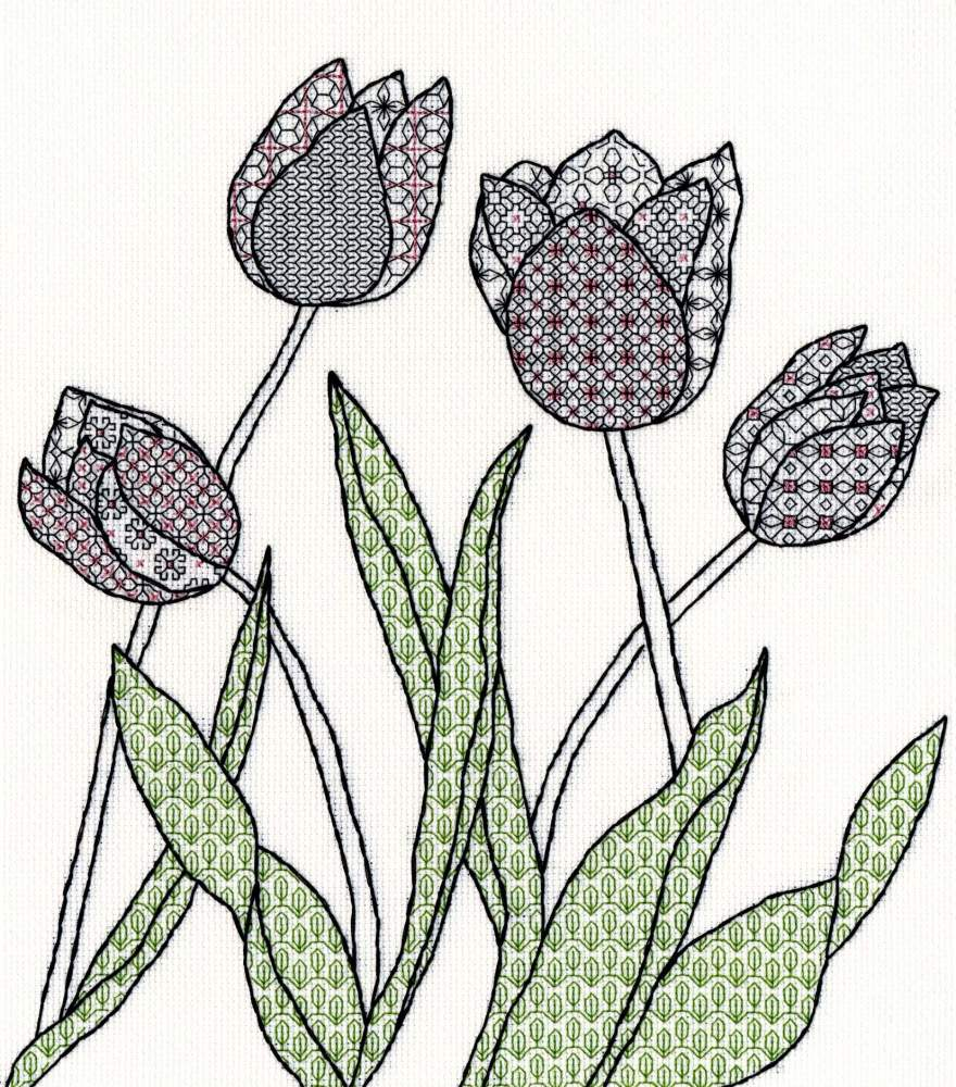 Tulips Blackwork Embroidery - Bothy Threads