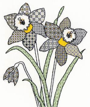 Daffodils Blackwork Embroidery - Bothy Threads