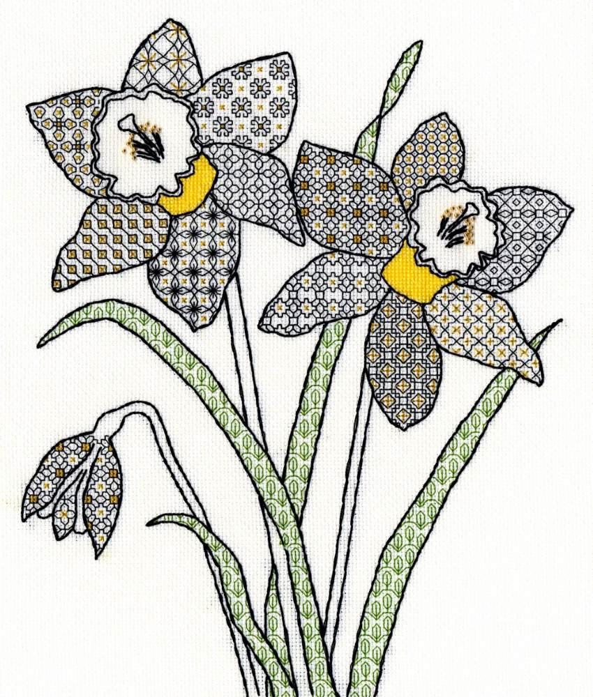 Daffodils Blackwork Embroidery - Bothy Threads