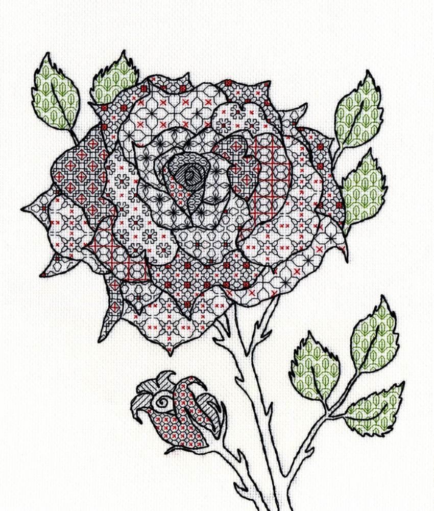 Rose Blackwork Embroidery - Bothy Threads