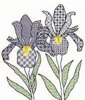 Irises Blackwork Embroidery - Bothy Threads