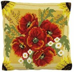 Poppies and Daisies -  Cross Stitch Kit (printed canvas)