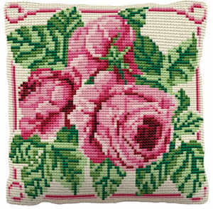 English Rose -  Cross Stitch Kit (printed canvas)