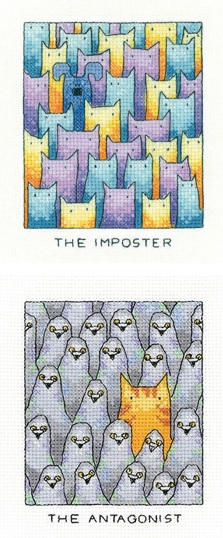 The Imposter and The Antagonist - Set of 2 Cat cross stitch kits