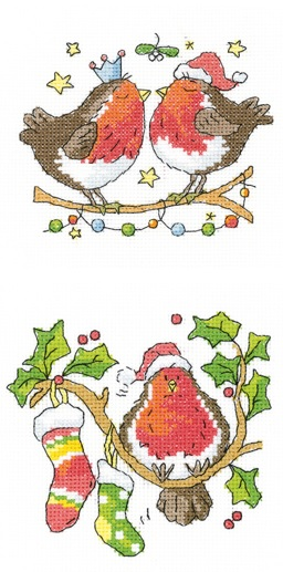 Christmas Kiss and Round Robin - Set of 2 Cross Stitch