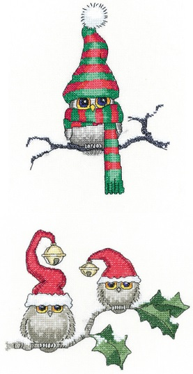 HERITAGE CRAFTS HEARTS AND FEATHERS OWL COUNTED CROSS STITCH KIT PETER UNDERHILL