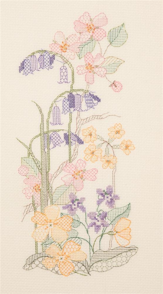 Spring Seasons Panel - Cross Stitch & Blackwork