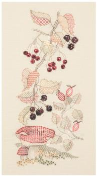 Autumn Seasons Panel - Coloured Blackwork