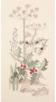 Winter Seasons Panel - Coloured Blackwork