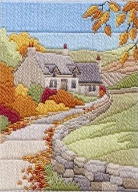 Autumn Cottage - Wool Long Stitch