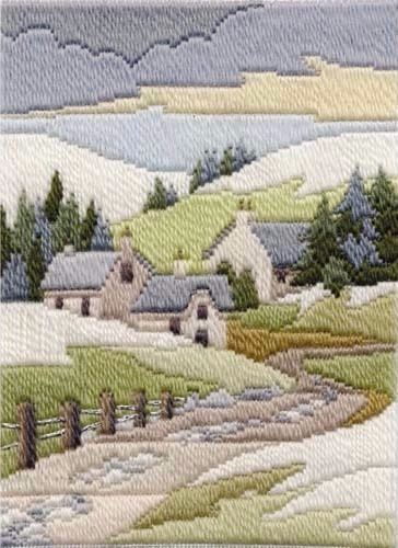 Winter Cottage - Wool Long Stitch