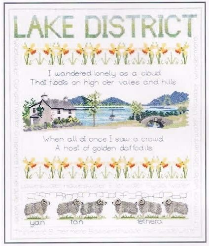 Lake District Cross Stitch Sampler - William Wordsworth Daffodils Poem