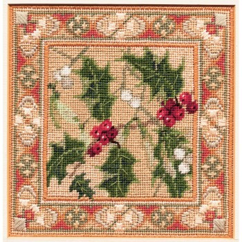 Holly & Mistletoe - Counted Canvas Work - Petit Point & Long Stitch